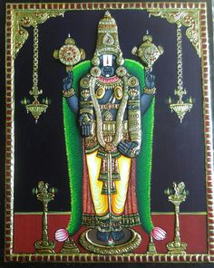 No photo description available. Indian Gods, Indian Art, Lord Balaji, Indian Paintings, Portrait Paintings, Tanjore Painting, Pooja Rooms, Outline Drawings, God Pictures