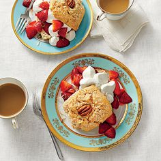 Coconut-and-Pecan Strawberry Shortcakes | For a creative, updated take on shortcake, we added coconut and pecans to the dough.