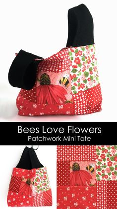 Patchwork Bags, Pdf Sewing Patterns, Love Flowers, Bag Making, Purses And Bags, Sewing Projects, Bee, Tote Bag, Mini