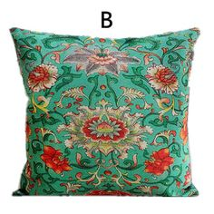 Chinoiserie flower throw pillows Chinese style retro sofa cushions