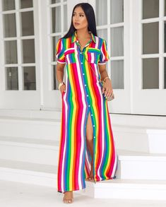 Image may contain: 1 person, standing and stripes American Women, American Lady, Chic Couture Online, Taste The Rainbow, Cover Up, Stripes, Outfit Styles, Smile, Outfits