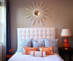 guest suite color scheme - like the white bedding with the color pops in the pillows