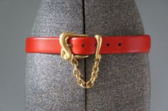 Vintage 1990s Red Leather DKNY Belt by SunnywoodVintage on Etsy, $38.00