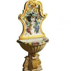 """FOUNTAIN: BACCHUS (3-Pieces): 66"""" High x 28.5"""" Wide x 15.5"""" Deep    MADE FOR SABBIA TALENTI this piece is for special order only.    #Art #Vail #Gubbio #Umbria #Deruta #Italy #Dinnerware #Tuscany #Majolica #Renaissance"""