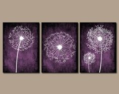 Purple Wall Decor for Bathroom Awesome Dandelion Wall Art Purple Bedroom Canvas or Prints Bathroom Purple Bedroom Walls, Plum Bedroom, Blue Bedroom Decor, Deep Purple Bedrooms, Bedroom Ideas, Bedroom Black, Bedroom Modern, Modern Room, Master Bedroom