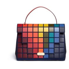 Anya Hindmarch 'Pixels Bathurst' patchwork suede satchel ($2,580) ❤ liked on Polyvore featuring bags, handbags, white purse, white satchel, patchwork handbags, suede satchel handbags and satchel handbags