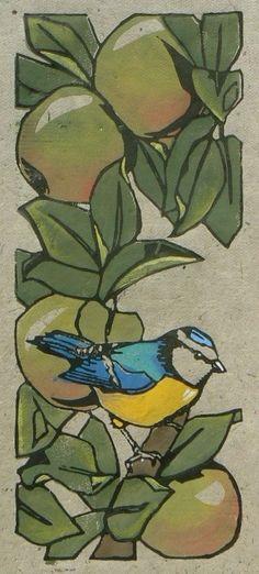 Bleu tit in the apple tree - linocut print - Jane Kendall, U.K.
