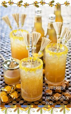Butterbeer with broomstick stirrers