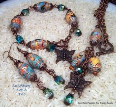 Paper Bead Jewelry Sunflower Set A Trio by PassionForPaperBeads, $49.99