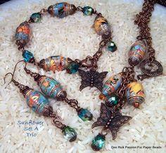 Paper Bead Jewelry Sunflower Set A Trio