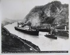 The SS Ancon, the first ship to travel throught the Panama Canal is seen passing through Gaillard Cut (Culebra Cut at the time) on August 15, 1914. This is in the same general area of the new Centennial Bridge.