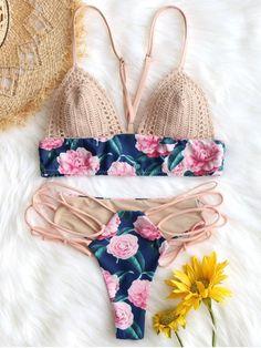 Crochet Insert Swim Bra with Lace Up Bottoms - Beach Bikini Swimwear Model, Swimwear Fashion, Bikini Swimwear, Bikini Fashion, Bikini Crochet, Swim Bra, Zaful Bikinis, Mothers Day T Shirts, Modest Swimsuits