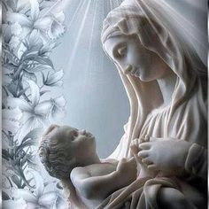 Mother Mary and Jesus Blessed Mother Mary, Divine Mother, Blessed Virgin Mary, Religious Images, Religious Art, Images Of Mary, Queen Of Heaven, Mama Mary, Mary And Jesus
