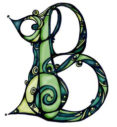 Letter design in Celtic green. For creative note writing & print - by Belinda