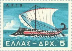 Argo, the ship of the Argonauts in a Greek stamp. The Argo ship was build in three months, but a modern reconstruction using only ancient tools after 15 months hard work could not finish even half of the c. 28 m long ship. Postage Stamp Design, Postage Stamps, Argo, Greece Mythology, Greek History, Ancient History, Merchant Marine, Stamp Collecting, Ancient Greece