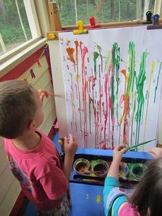Drip Drop Painting at the Easel by Teach Preschool