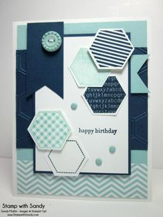 Stamp With Sandy: Six Sided Sampler for The Paper Players Midnight Muse, Pool Party & Whisper White Masculine Birthday Cards, Birthday Cards For Men, Card Birthday, Masculine Cards, Scrapbooking, Scrapbook Cards, Hexagon Cards, Hexagon Quilt, Stampin Up Anleitung