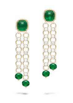 Extremely Piaget earrings in pink gold, set with sugarloaf emeralds, emerald beads and diamonds.