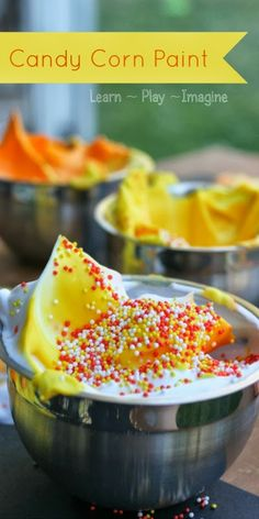 Quick and inexpensive recipe for candy corn paint, perfect for fall.