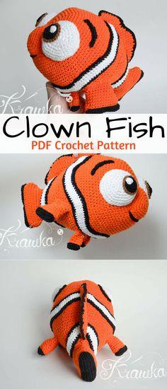 Nemo orange clown fish amigurumi. Make your kids their own Nemo crochet stuffed toy. #nemo #ad #amigurumi #crochet #pattern #findingnemo