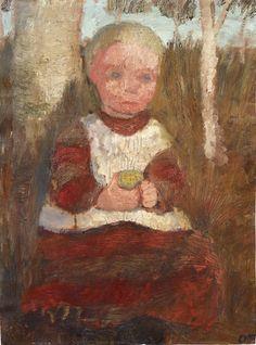 Child Sitting next to Birch Tree (Child with Fruit), 1905, Paula Modersohn-Becker. Germany (1876 - 1907)