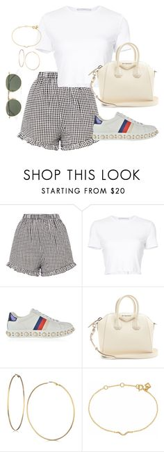 """""""Untitled #4683"""" by magsmccray ❤ liked on Polyvore featuring Rosetta Getty, Gucci, Givenchy, GUESS, Maya Magal and Ray-Ban"""