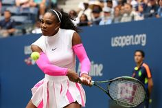 Williams vs. Larsson   September 3, 2016 - Serena Williams in action against Johanna Larsson during the 2016 US Open at the USTA Billie Jean King National Tennis Center in Flushing, NY.