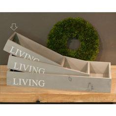 """Vassoio in legno grigio """"living"""" shabby"""