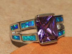 blue fire opal Amethyst ring gemstone silver jewelry Sz 6.5 modern engagement GA