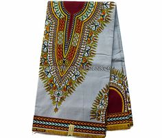 Grey Dashiki Fabric/ African Fabric/ Ankara print/ African print/ Dashiki print…
