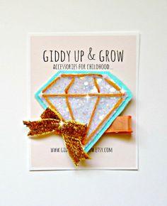 Felt Hair Clip  Gem Hair Clip Giddy Up and Grow by giddyupandgrow, $14.00