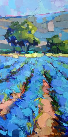 """Looking Down the Rows"" original oil painting by Trisha Adams Oil ~ 24 x 12 on deep canvas, framed Abstract Landscape Painting, Landscape Paintings, Colorful Abstract Art, Blue Painting, Impressionist Paintings, Selling Paintings, Palette Knife Painting, Acrylic Art, Acrylic Paintings"