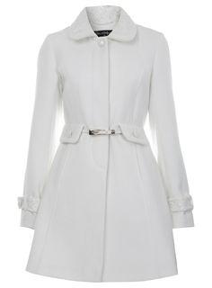 manteau blanc d'hiver à liseré en dentelle