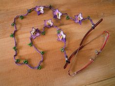 purple eyeglass chain needle lace violets eye glass by PashaBodrum, $15.00