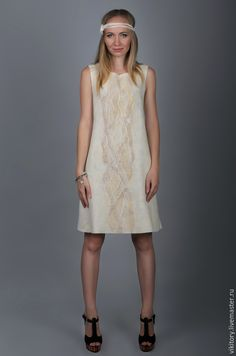 """Купить Валяное платье """"Cream Rose"""" - белый, вечернее платье, летнее платье, валяное платье"""