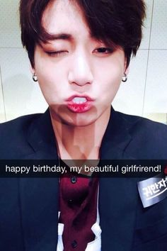 Aww Kookie and his cute english... Spelled girlfriend wrong XD ( even if it's not real......)
