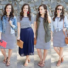 Striped T-Shirt Dress Five Ways - Simply Sweet Storeys - Striped Dress Modest Outfits, Modest Fashion, Dress Outfits, Casual Dresses, Casual Outfits, Cute Outfits, Fashion Outfits, Shirtdress Outfit, Striped Dress Outfit
