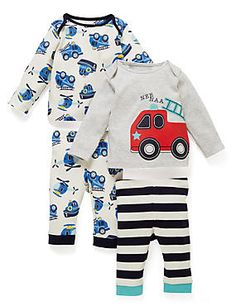 It's bed time Zzz... Make sure your baby is warm at night with this pure cotton blue mix pyjama set.