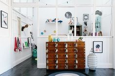 Modern Eclectic Kids Room with Cluttered Decor