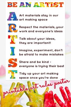 Art Room Rules Printable Poster