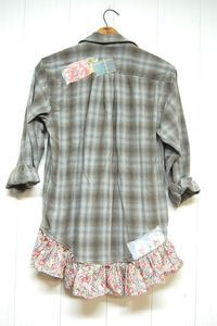 Grunge Oversized Flannel Shirt Shabby Chic Blue Gray Gussied Up Men's Shirt, Upcycled Clothing Free People Inspired