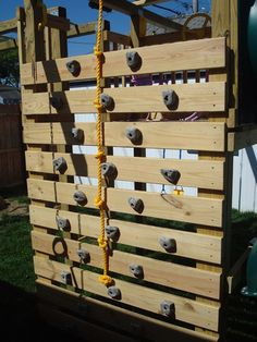 23 Awesome Climbing Walls For kids 23 Awesome Climbing Walls For kids<br> How awesome is to have a climbing wall in your home? Climbing wall is every child dream. If you want to make something interesting for your kids room then Playground Design, Backyard Playground, Backyard For Kids, Playground Ideas, Plastic Playground, Children Playground, Outdoor Play Spaces, Outdoor Fun, Outdoor Ideas