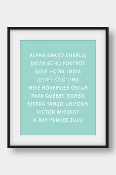 NATO Phonetic Alphabet, Aviation Decor, Pilot Gift, Boys Room Decor, Gift For Him, Morse Code, Military Decor  26 code words assigned to the 26 letters of the English alphabet. Ideal for pilots, future pilots or aviation enthusiasts. Aviation Art for your home or your office. #phoneticalphabet #alphabet #pilotgift #aviationdecor #kidsroomdecor #giftforhim #boysroomdecor  #militarydecor #mintwalldecor Aviation Decor, Airplane Decor, Bible Verse Art, My Bible, Nato Phonetic Alphabet, Mint Walls, Bunny Nursery, Pilot Gifts, Printable Bible Verses