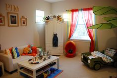 Inspiration for Noah's room- maybe lose the couch, paint walls pale gray, transitional table top