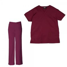 Dickies Unisex Set in Wine. The Dickies Unisex Set consists of the Dickies Unisex Scrub Top and the Dickies Unisex Drawstring Trousers. The top features a generous fit making it extra comfortable and two front pockets. The trousers feature an elasticated drawstring waist and a number of pockets to store all your belongings. £34  #nursescrubs #dentistuniform #nurses #dentists #redscrubs