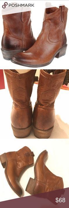 """Frye boots frye carson shortie cowboy booties Waxy, lightly distressed leather enhances the Western styling of a pull-on boot grounded by a stacked wooden heel. •Approx. heel height: 1 3/4"""". •Approx. boot shaft height: 6 1/2"""". •Leather upper, lining and sole. •By Frye .first pPicture happy for clarity. Last picture shows minor flaw on inner part of boot. Not noticeable while wearing. Excellent clean preowned condition Frye Shoes Ankle Boots & Booties"""