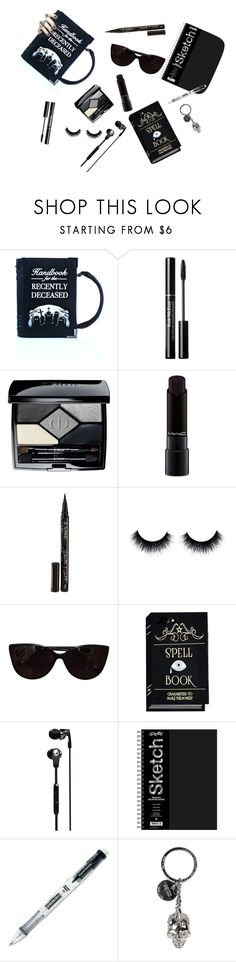 """""""GG: What's in her bag?"""" by fluffyvanilla on Polyvore featuring Killstar, Christian Dior, MAC Cosmetics, Smith & Cult, Tiffany & Co., Skullcandy, Paper Mate, Alexander McQueen and wihb"""