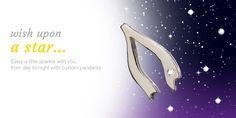 Discover customizable pendants at HarpersLove.com. #customizable #jewelry #silver #wishbone
