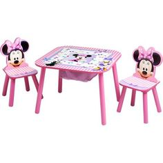 Minnie Mouse Table Set Disney Minnie Mouse Storage Table and Chairs Set New Minnie Mouse Table, Minnie Mouse Nursery, Minnie Mouse Toys, Kids Table And Chairs, Kid Table, Table And Chair Sets, Kids Storage, Table Storage, Light Up Canvas