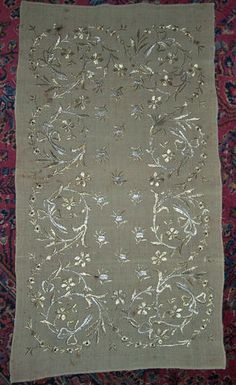 Elaborate Antique Gold and Silver Metallic Thread Embroidered Turkish Towel